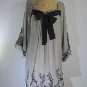 Yoana Baraschi S Gray Black Lace Silk Dress Bow